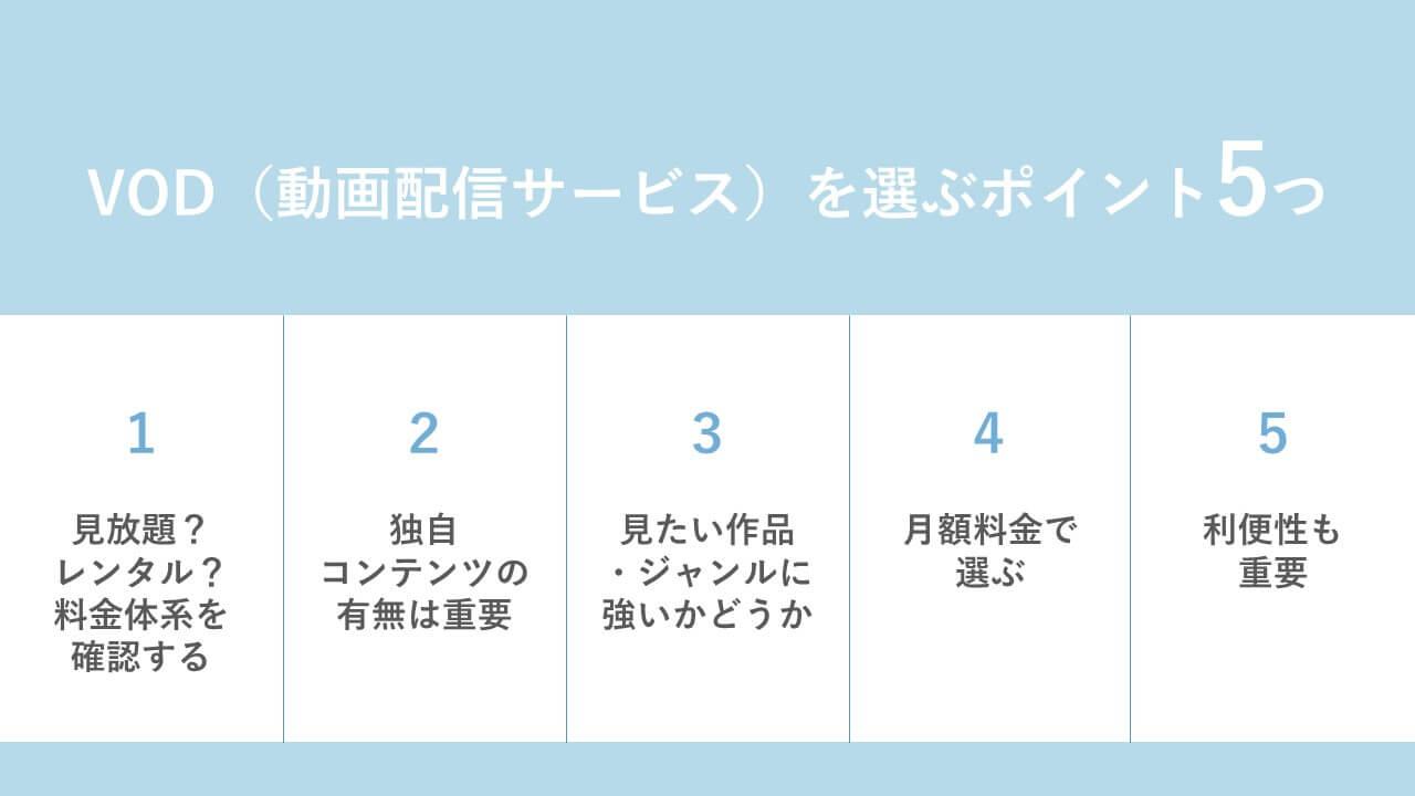 VOD(動画配信サービス)を選ぶポイント5つ