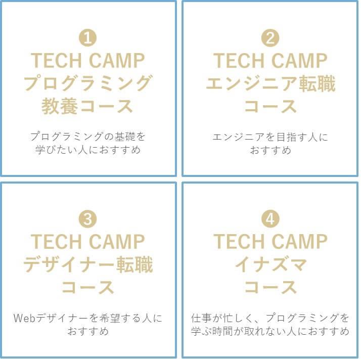 TECH CAMP(テックキャンプ)のコースは4種類