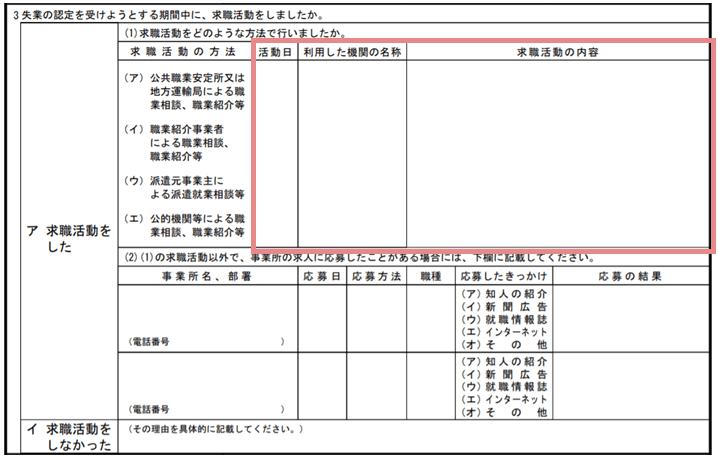 求職活動実績の書き方STEP3.活動日・機関の名称・内容を記入する